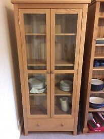 Attractive Chinese Oak Glass fronted Cabinet - sturdy construction - move forces reluctant sale