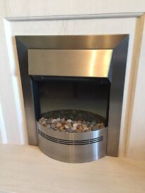 Electric fire in brushed chrome