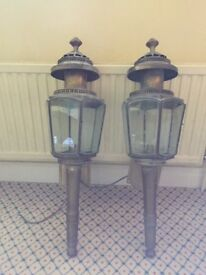 Two antique coach lamp, 100 years old, brass and etched glass, 85cm high