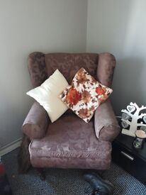Large brown 2 seater sofa & armchair