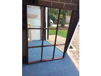 Mirror large mahogany 33 inches by 43 inches high 9 window pane