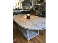 Oval vintage table with drawer