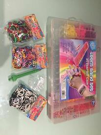 Loom Band set and storage case with 3 extra bags of looms