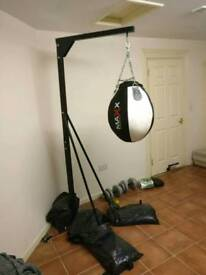 Free standing punch bag with two bags and gloves/mitts