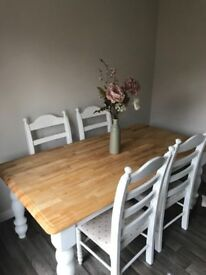 Vintage Cream Off White And Solid Wood Dining Table 6 Chairs For Sale