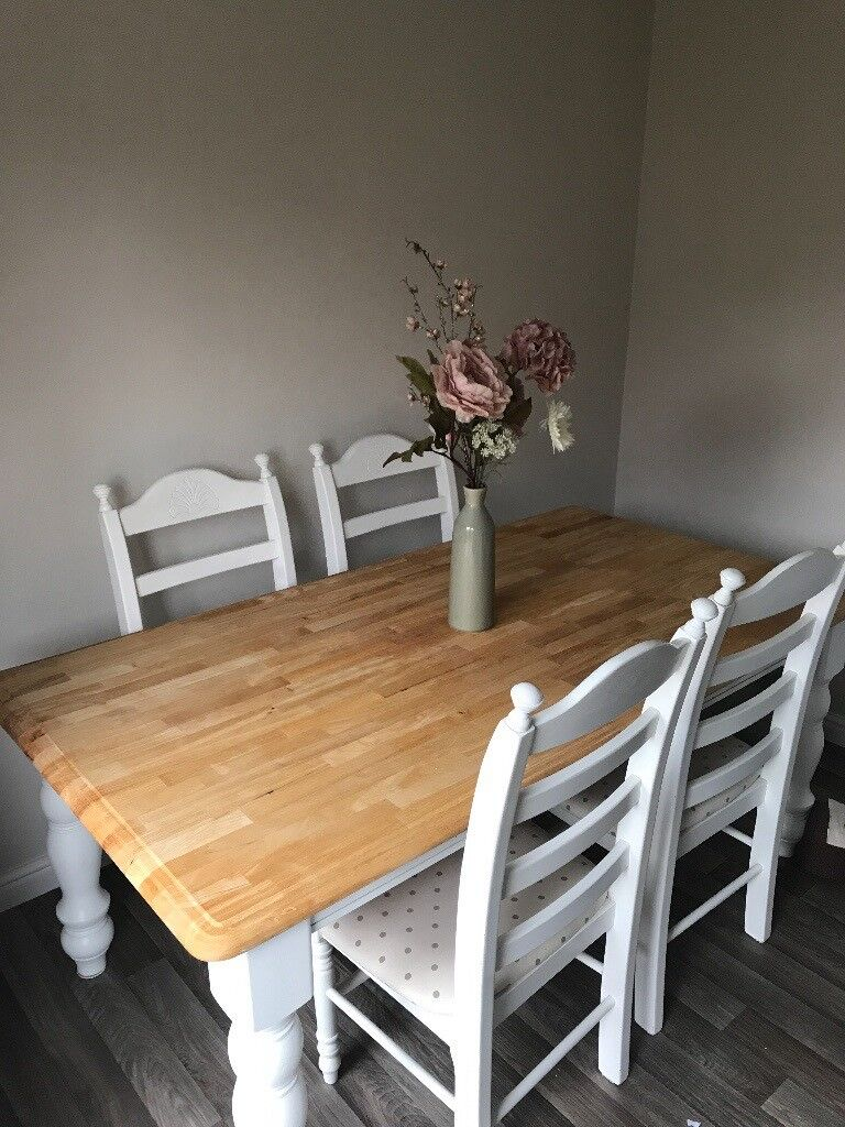 vintage cream off white and solid wood dining table 6 chairs for