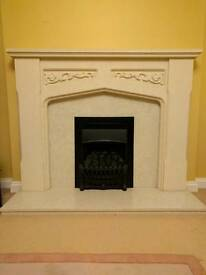 Gas fire and marble hearth and back with free surround (mark on top - hence free)