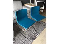 2x Blue Leather dining chairs