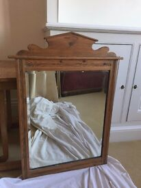 Pretty Antique English wood wall mirror - great shape with lovely bevelled edge