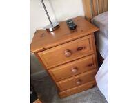 Handmade solid pine bedside table