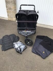 Out n About Double Buggy V4 newest version with extras