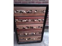 An Upcycled faux leather set of draws