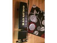 Golds gym metal weights and bench