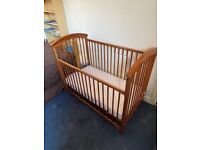 WOODEN COT GOOD CONDITION £45
