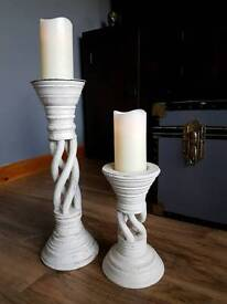 LARGE RUSTIC CANDLESTICK HOLDERS