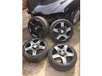 "17"" VW Canyon ( vw Touareg / Audi Q7 ) genuine alloy Wheels & 5x120 to 5x100 adaptors"