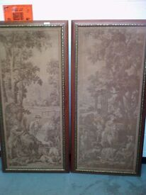 Two large old canvas art works