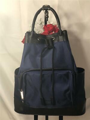 VERSACE Parfums Unisex's Blue & Black Drawstring Backpack Bucket Bag Large