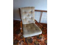 Two Vintage Parker Knoll Armchairs with champagne velour upholstery.