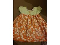 Baby girls summer dress with matching hat & pants