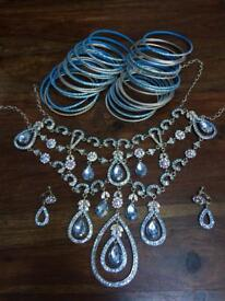 Bridal necklace in silver & blue