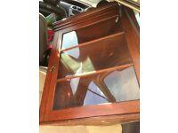 Mahogany , wall mounted corner cabinet