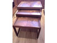 1970s nest of 3 tables. Solid wood, English made, tile tops. Genuine 1970s