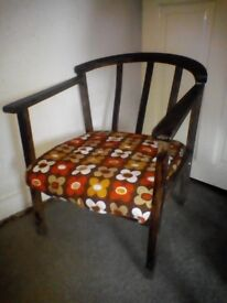 Vintage / Retro 1960s Hardwood Armchair + Groovy Cushioned Seat - Bargain to Clear!