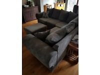 corner sofa and foot stool verona 5 seater