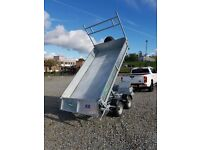 NEW GALVANISED ELECTRIC TIPPING DROPSIDE TRAILER WITH MESHSIDES