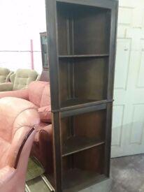 Oak bookcase corner unit gothic