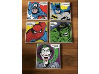 Marvel Superhero Canvases x5