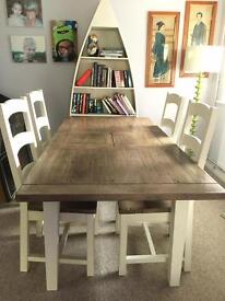 Recycled timber extending table and chairs