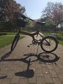 Vintage Village Rambler Folding Bike With Basket, Stand and Bell