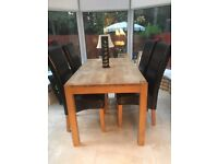 Dining room table 4 chairs and accessories