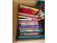 Box of books. Kids teens. Wimpy kid.