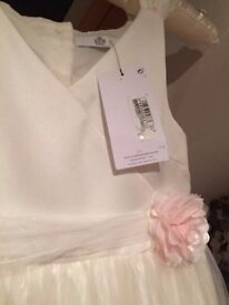 Brand New M&S Flower Girl/Part Dress with Fur Stole and Pink Ballerina Shoes