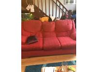 3 seater red sofa and 2 chairs