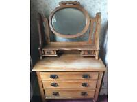 Antique Oak Dressing Table with Chest of Drawers & Mirror