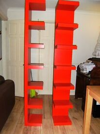 Pair of Ikea floor standing shelves with wall fixing brackets
