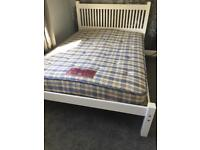 White wood double bed and mattress