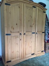 Corona Solid Wood Bedroom Furniture - triple wardrobe, 2 drawer sets and 2 bedside tables