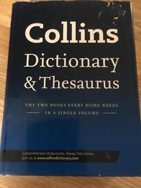 Large Collins dictionary and thesaurus