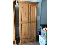 X2 solid pine wardrobes with bottom drawer with matching dressing table & mirror