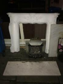 Gas fire, surround and marble hearth