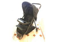 BabyStart Deluxe 3 Wheel Fold Flat Baby Pushchair/Pram/Stroller w/ Removable Tray & Shopping Basket