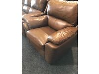3/1/1 brown real leather ,full recliner suite