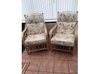 Two cane chairs for a conservatory