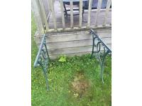 Iron garden table and 2-off bench ends