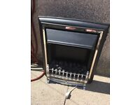 chrome and black electric fire